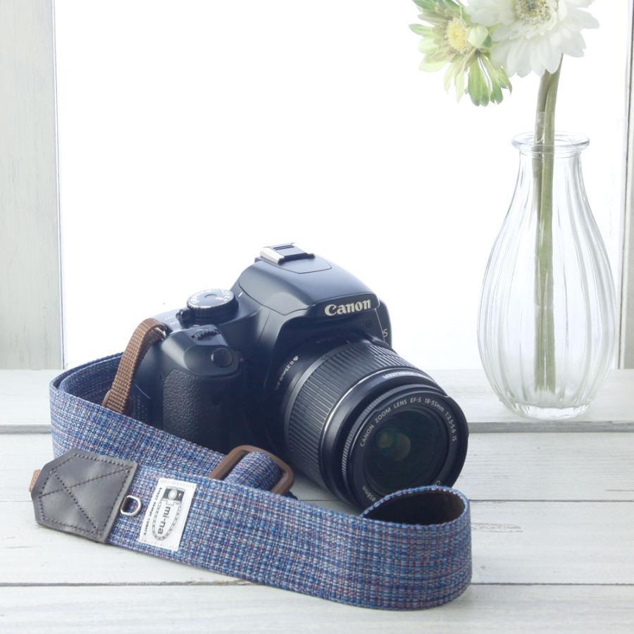 カメラストラップ camera strap 一眼レフ ミラーレス一眼用 プロテジェ ネイビーミックス 撥水加工 3.5cm幅フリータイプ|mi-na|02