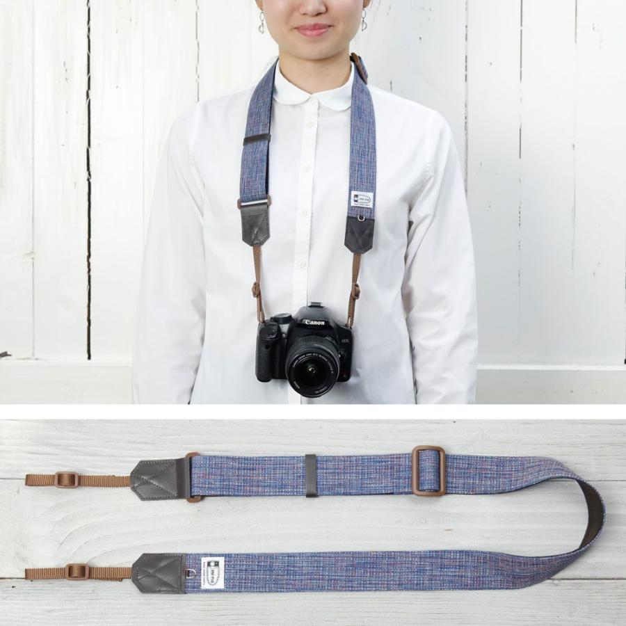 カメラストラップ camera strap 一眼レフ ミラーレス一眼用 プロテジェ ネイビーミックス 撥水加工 3.5cm幅フリータイプ|mi-na|03
