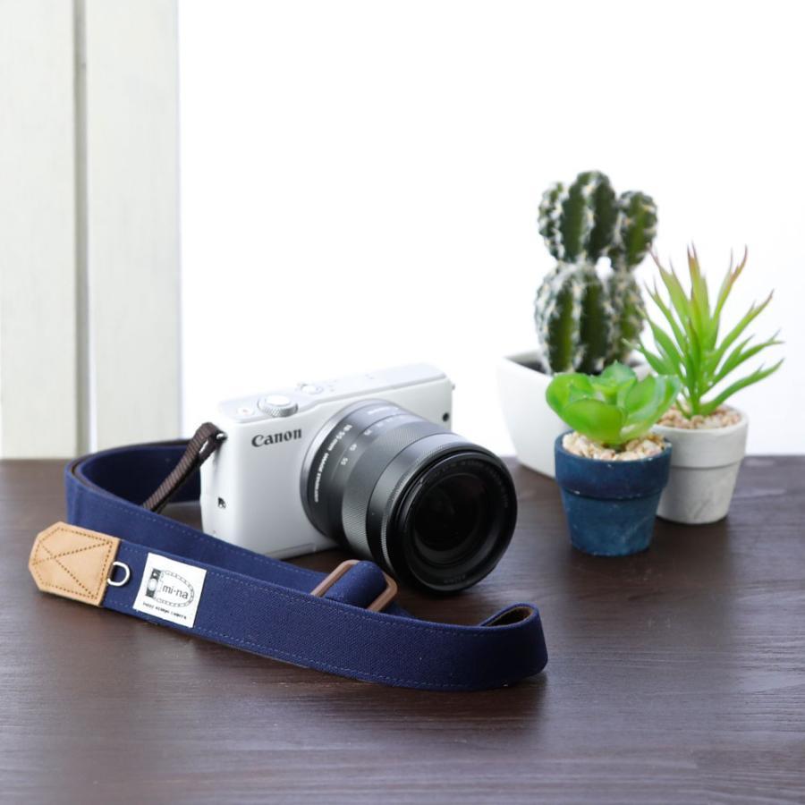 Canon M100 Kiss M対応 カメラストラップ/取付8mm幅【フリータイプ】/帆布 ネイビー|mi-na|02