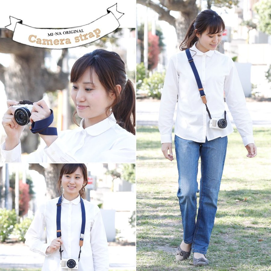 Canon M100 Kiss M対応 カメラストラップ/取付8mm幅【フリータイプ】/帆布 ネイビー|mi-na|05