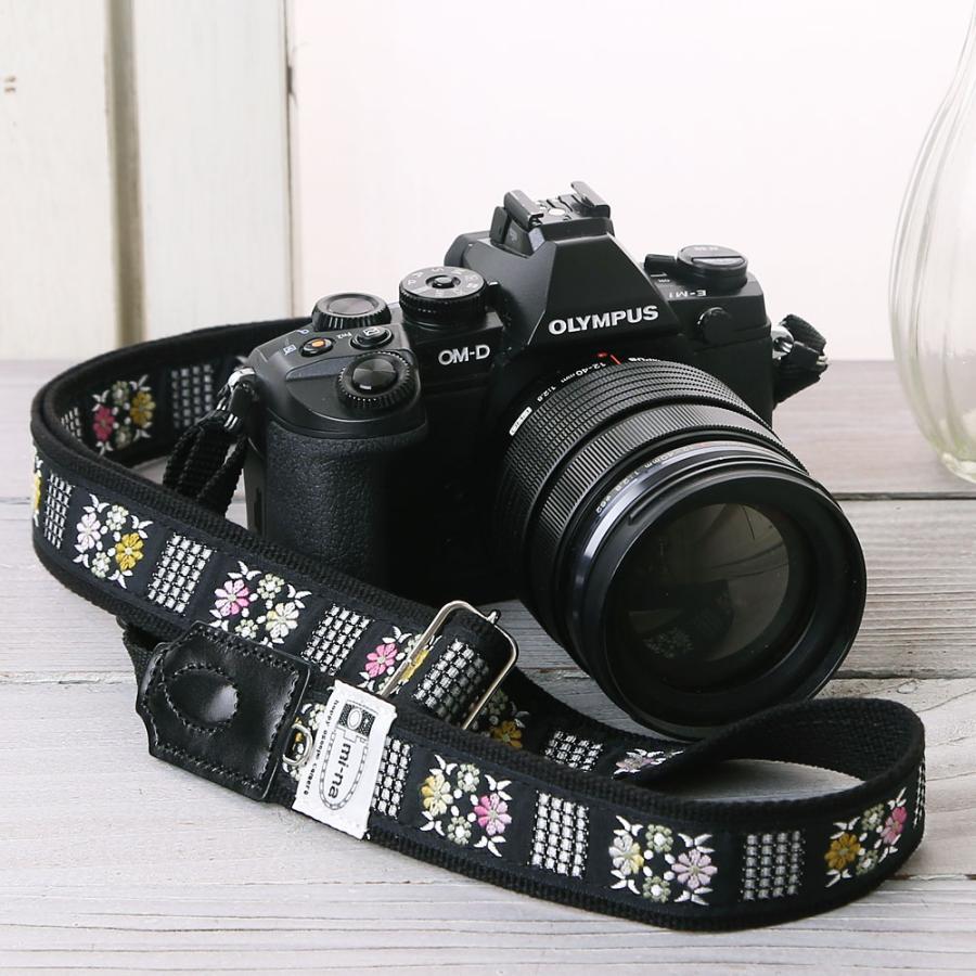 カメラストラップ camera strap 一眼レフ ミラーレス一眼用 フラワータイル フリータイプ mi-na