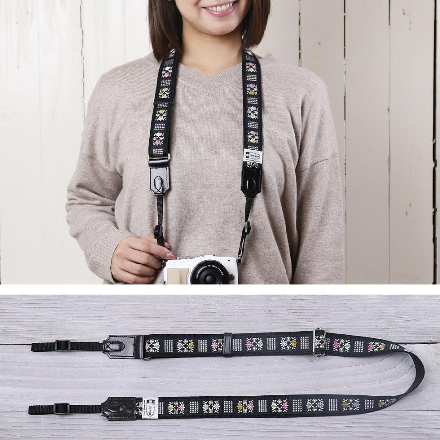 カメラストラップ camera strap 一眼レフ ミラーレス一眼用 フラワータイル フリータイプ mi-na 03