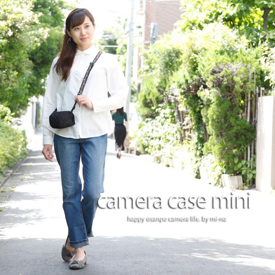 カメラケース camera case ミラーレス一眼カメラ用 カメラのお洋服 ミニ /エレガントブラックレディードット mi-na 02