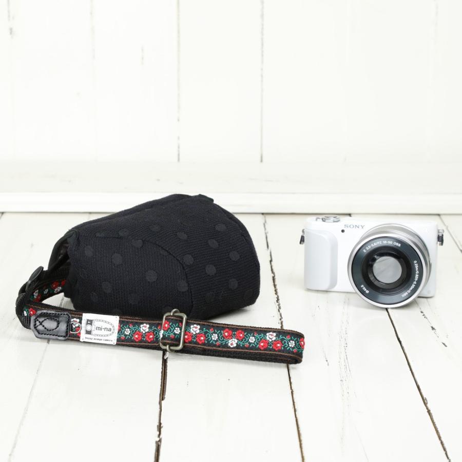 カメラケース camera case ミラーレス一眼カメラ用 カメラのお洋服 ミニ /エレガントブラックレディードット mi-na 03