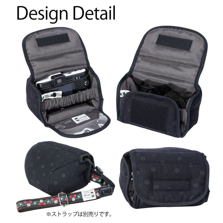カメラケース camera case ミラーレス一眼カメラ用 カメラのお洋服 ミニ /エレガントブラックレディードット mi-na 05