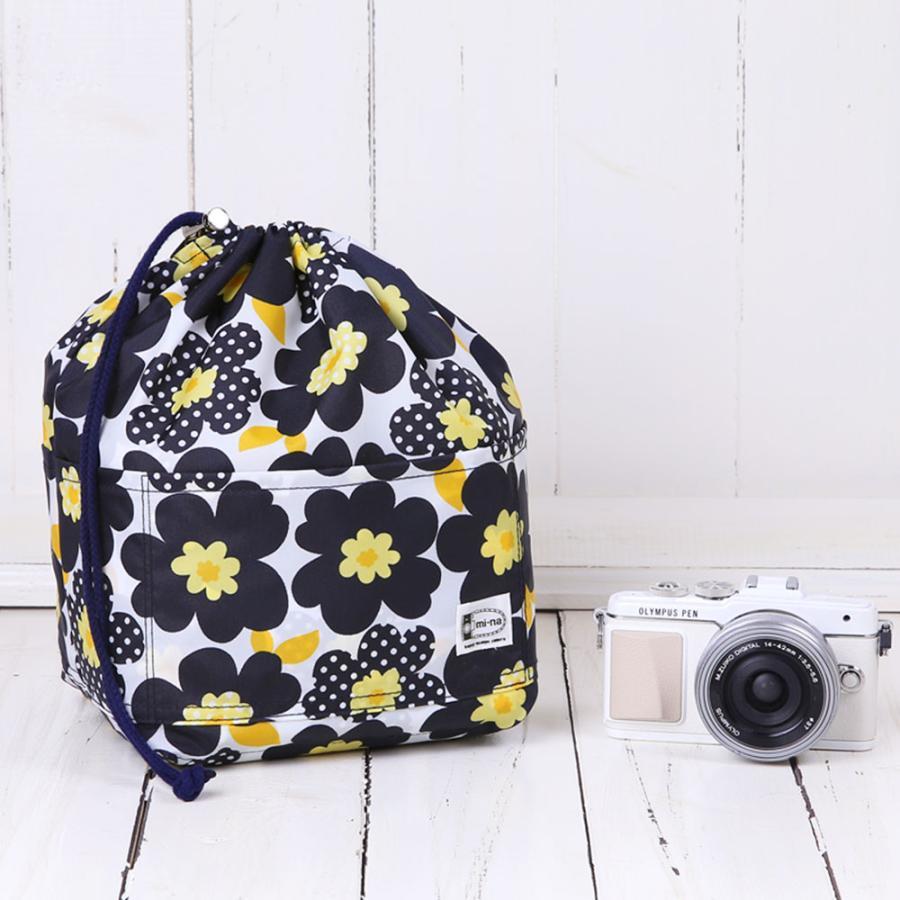 おしゃれ ふわふわソフトタイプ カメラ用 12ポケットインナーバッグ/ ネイビーフラワーポピー|mi-na