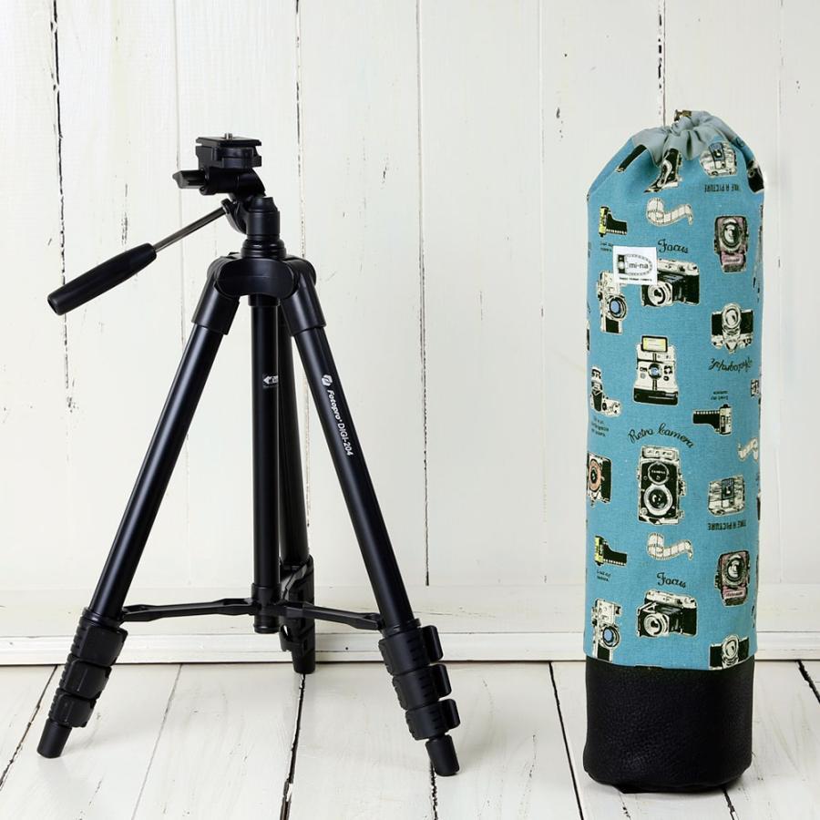かわいいケースとコンパクト三脚(ブラック)の2点セット/ レトロカメラ コーラルブルー|mi-na