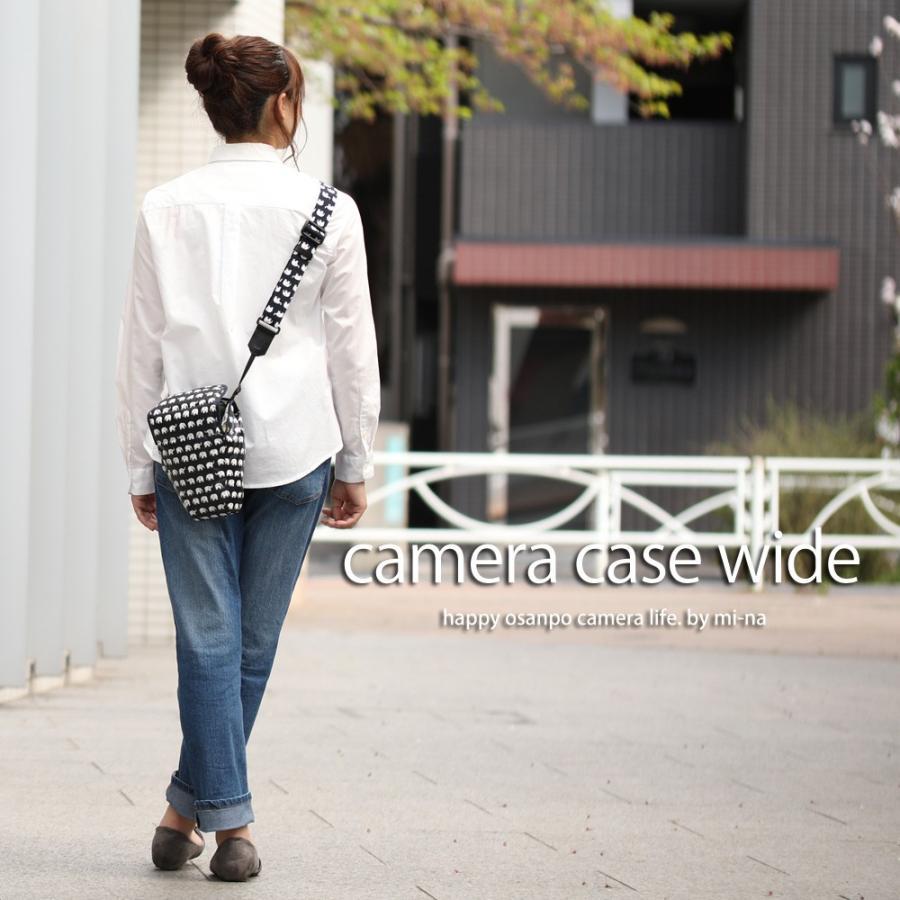カメラケース camera case 一眼レフ用 「カメラのお洋服 ワイド」 ビニールコーティングタイプ ハッピーエレファントネイビー|mi-na|02