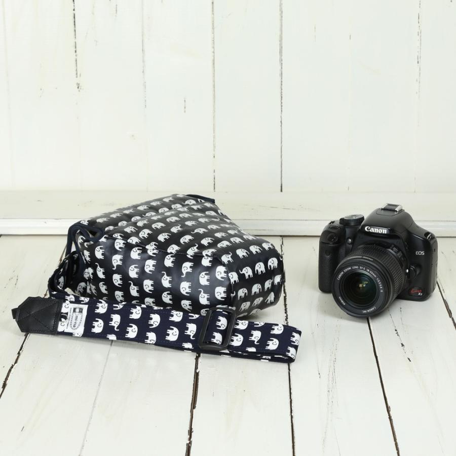カメラケース camera case 一眼レフ用 「カメラのお洋服 ワイド」 ビニールコーティングタイプ ハッピーエレファントネイビー|mi-na|03