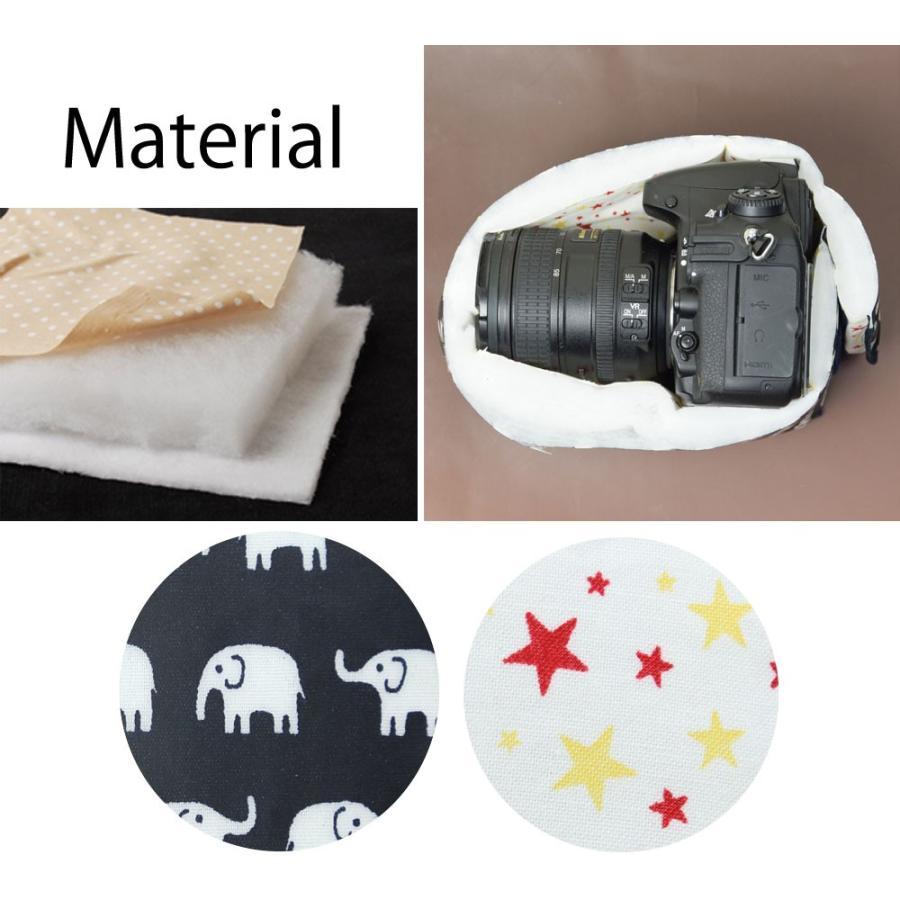 カメラケース camera case 一眼レフ用 「カメラのお洋服 ワイド」 ビニールコーティングタイプ ハッピーエレファントネイビー|mi-na|06