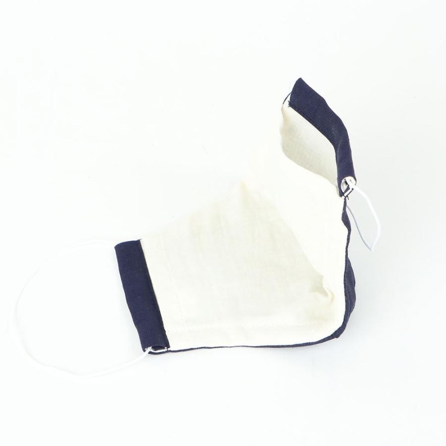 (男性用) ポケット付き♪ 3重構造の立体マスク / ネイビーリネン|mi-na|04