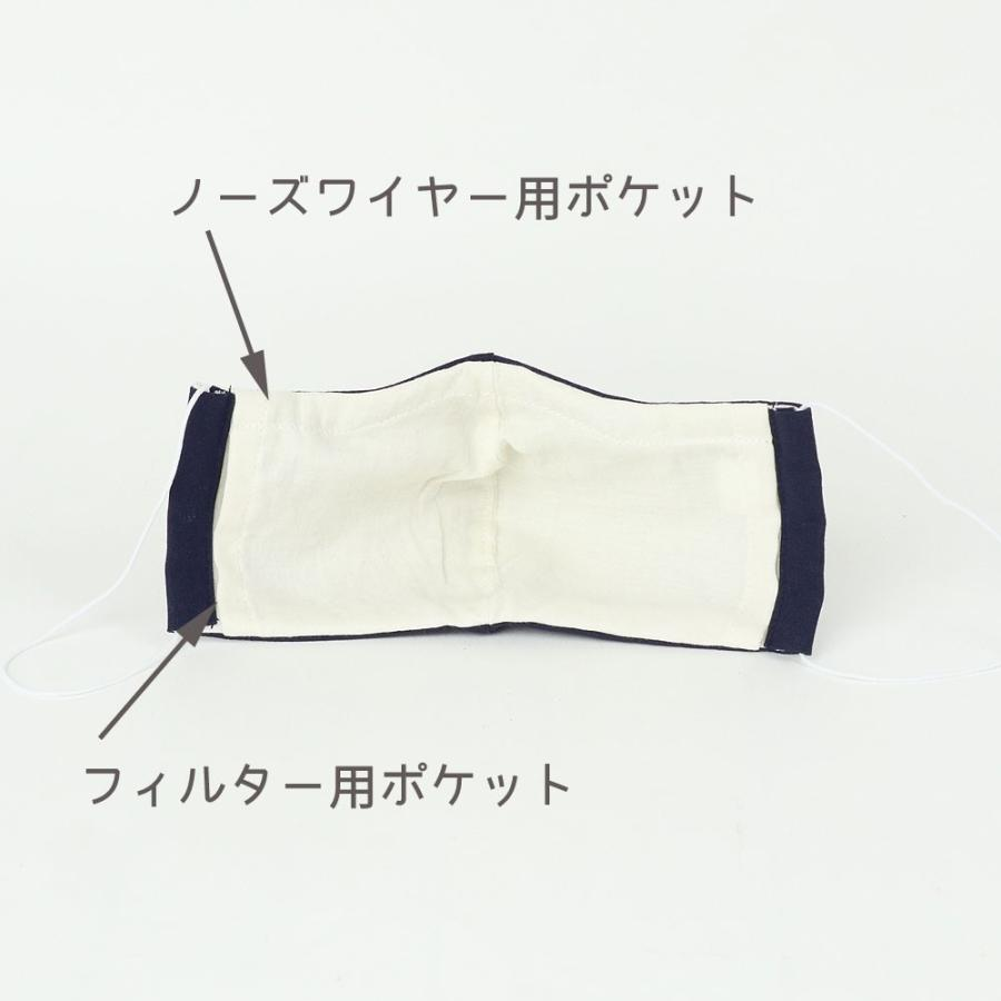 (男性用) ポケット付き♪ 3重構造の立体マスク / ネイビーリネン|mi-na|05