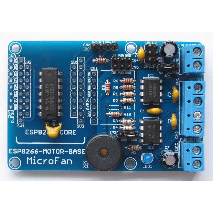 ESP8266-MOTOR-BASE DCモーター拡張ボードキット|microfan