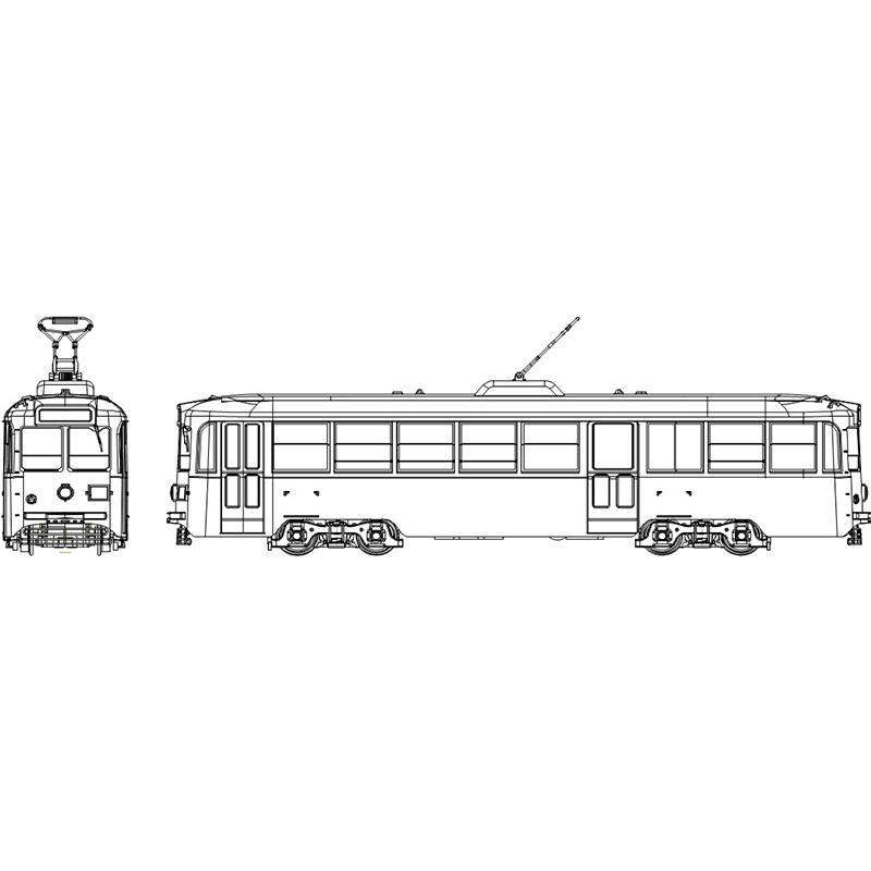 都電7000形「ビューゲルカバー付」塗装済・行先等デカール・インレタ選択式 【トラムウェイ・TW-HO7000X】