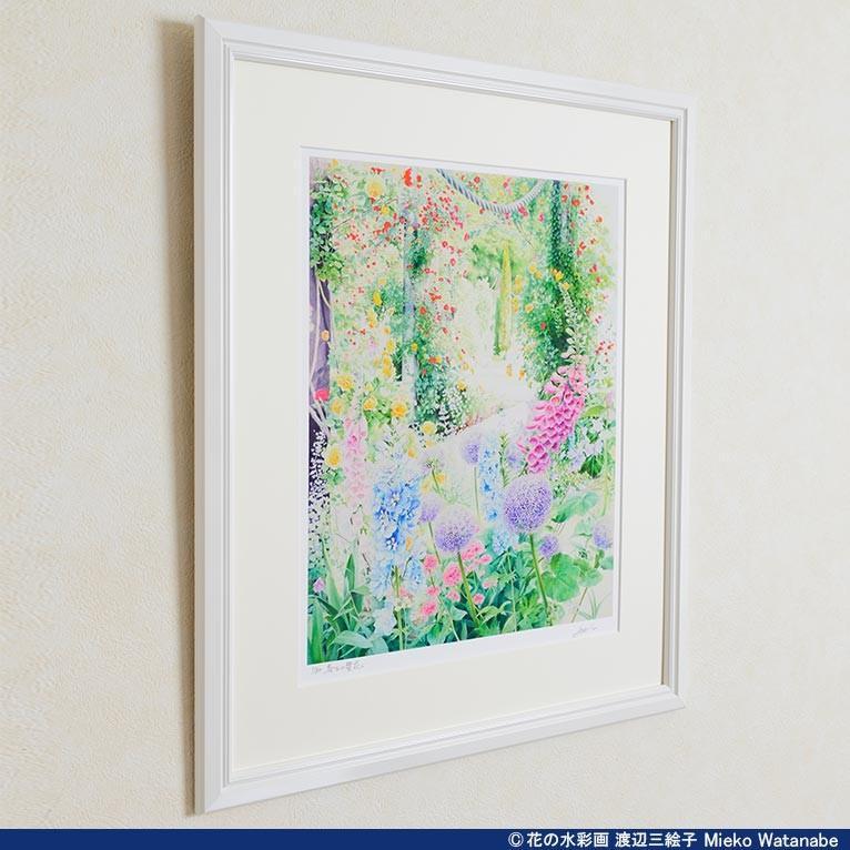 渡辺三絵子 花の水彩画 ジークレー版画(複製画)「喜びの讃花」額装Mサイズ|mieko-watanabe|03