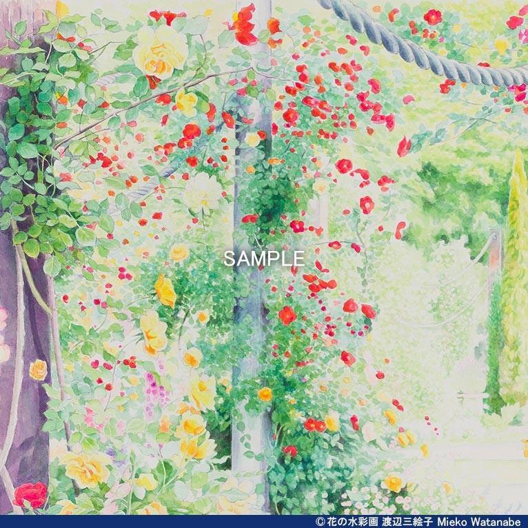 渡辺三絵子 花の水彩画 ジークレー版画(複製画)「喜びの讃花」額装Mサイズ|mieko-watanabe|05