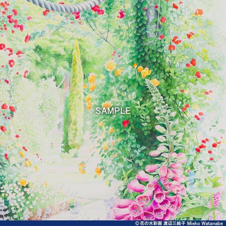 渡辺三絵子 花の水彩画 ジークレー版画(複製画)「喜びの讃花」額装Mサイズ|mieko-watanabe|06
