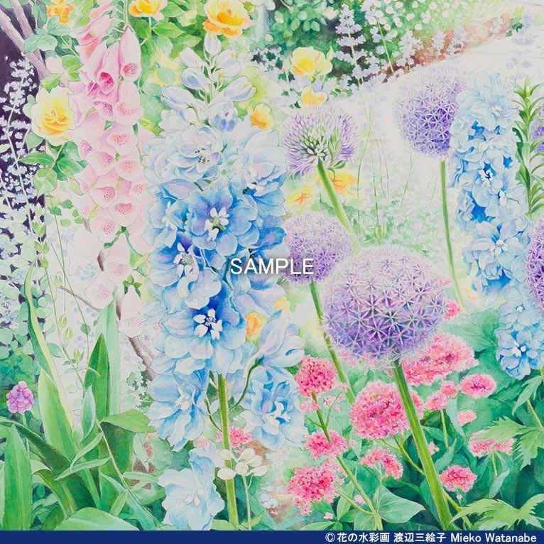 渡辺三絵子 花の水彩画 ジークレー版画(複製画)「喜びの讃花」額装Mサイズ|mieko-watanabe|07