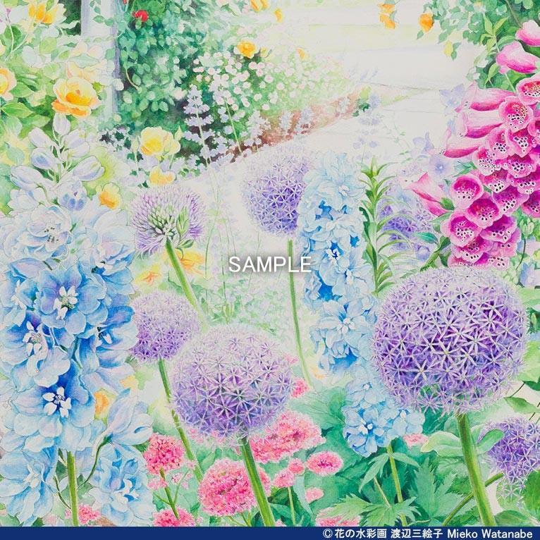 渡辺三絵子 花の水彩画 ジークレー版画(複製画)「喜びの讃花」額装Mサイズ|mieko-watanabe|08