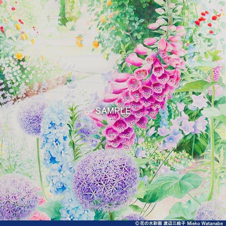渡辺三絵子 花の水彩画 ジークレー版画(複製画)「喜びの讃花」額装Mサイズ|mieko-watanabe|09