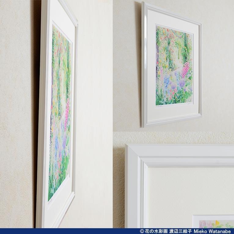 渡辺三絵子 花の水彩画 ジークレー版画(複製画)「喜びの讃花」額装Mサイズ|mieko-watanabe|10