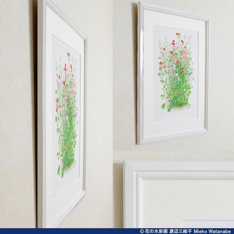渡辺三絵子 花の水彩画 ジークレー版画(複製画)「スイトピー」額装Mサイズ|mieko-watanabe|10