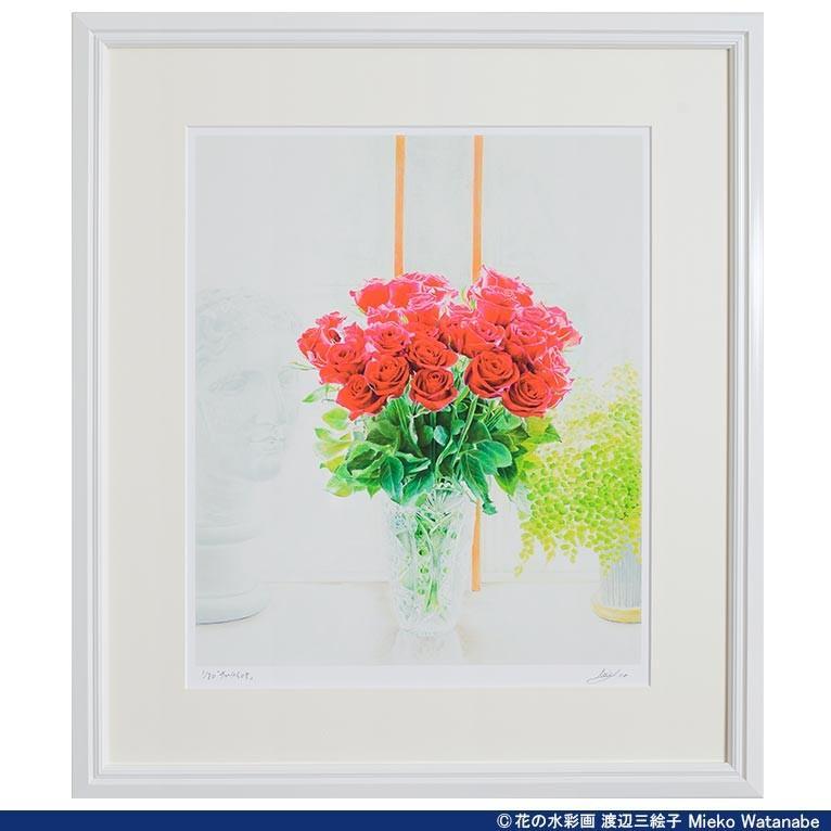 渡辺三絵子 花の水彩画 ジークレー版画(複製画) バラ「サムライ08」額装Mサイズ|mieko-watanabe