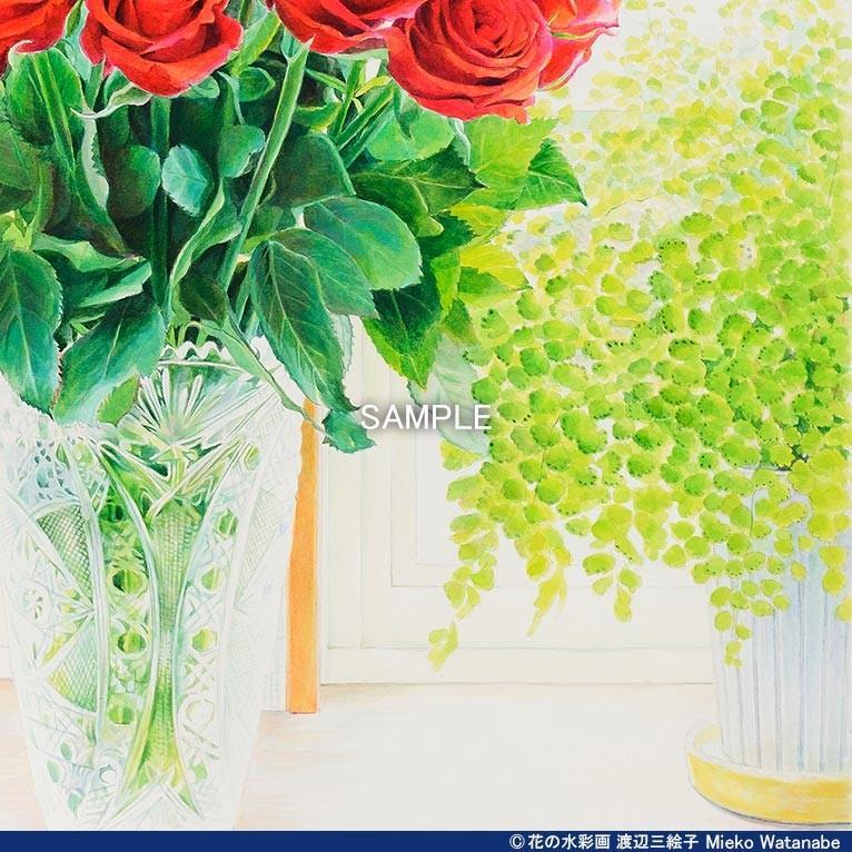 渡辺三絵子 花の水彩画 ジークレー版画(複製画) バラ「サムライ08」額装Mサイズ|mieko-watanabe|09
