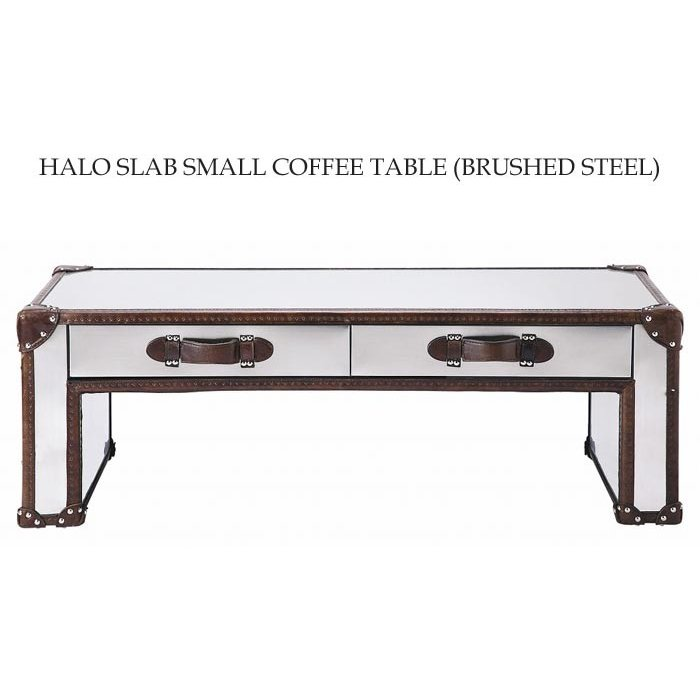 開梱設置 センターテーブル おしゃれ スラブ スモール コーヒーテーブル ブラッシュドスチール ステンレススチール 牛革