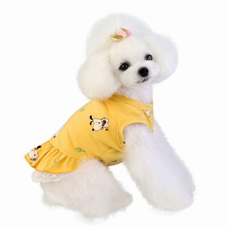ドッグウェア いぬ服 ワンピース レース ペット用 犬 猫 フレア Aライン フリル 重ね着風 袖なし ノースリーブ フェイクレイヤード プルオーバー mignonlindo 02