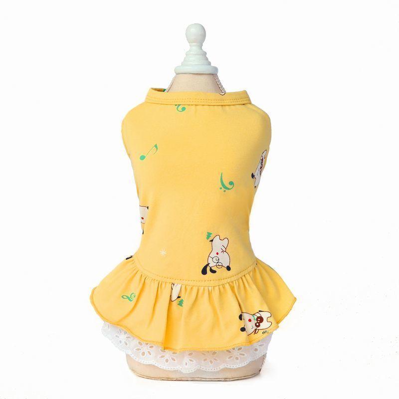 ドッグウェア いぬ服 ワンピース レース ペット用 犬 猫 フレア Aライン フリル 重ね着風 袖なし ノースリーブ フェイクレイヤード プルオーバー mignonlindo 12