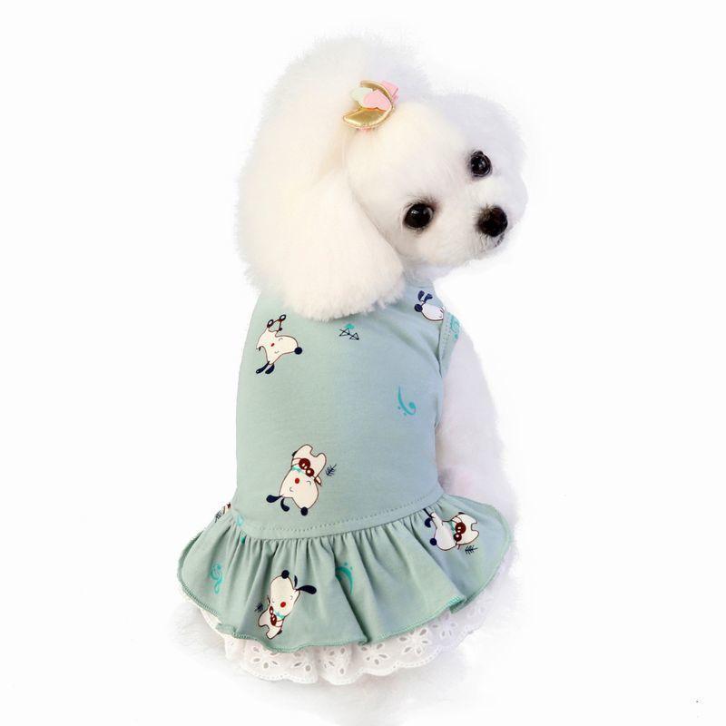 ドッグウェア いぬ服 ワンピース レース ペット用 犬 猫 フレア Aライン フリル 重ね着風 袖なし ノースリーブ フェイクレイヤード プルオーバー mignonlindo 04