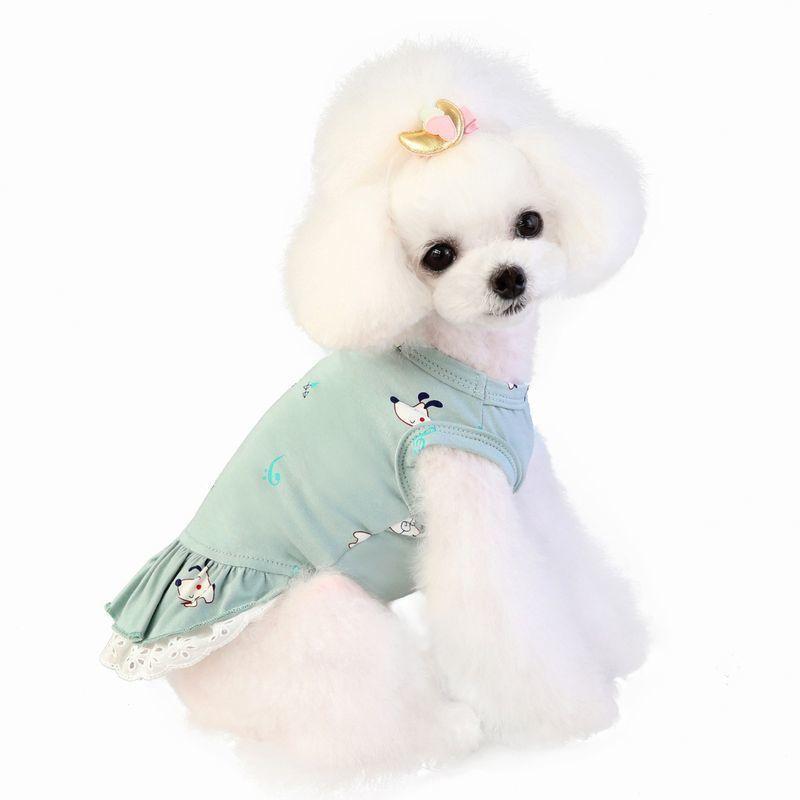 ドッグウェア いぬ服 ワンピース レース ペット用 犬 猫 フレア Aライン フリル 重ね着風 袖なし ノースリーブ フェイクレイヤード プルオーバー mignonlindo 05
