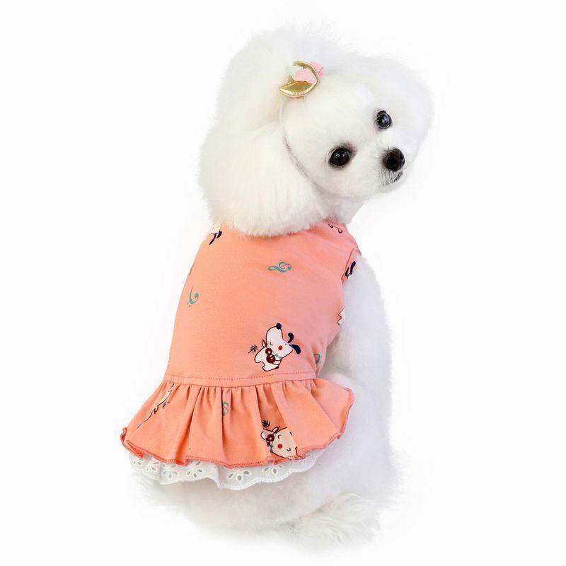 ドッグウェア いぬ服 ワンピース レース ペット用 犬 猫 フレア Aライン フリル 重ね着風 袖なし ノースリーブ フェイクレイヤード プルオーバー mignonlindo 07