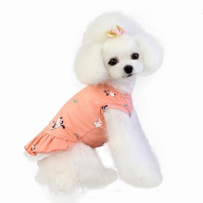 ドッグウェア いぬ服 ワンピース レース ペット用 犬 猫 フレア Aライン フリル 重ね着風 袖なし ノースリーブ フェイクレイヤード プルオーバー mignonlindo 08