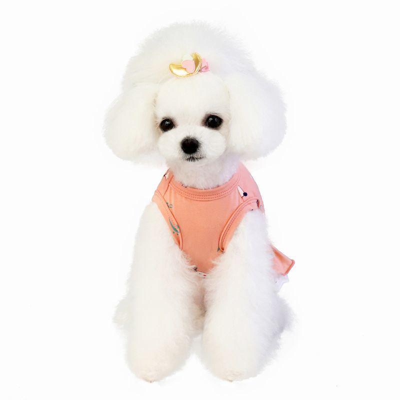 ドッグウェア いぬ服 ワンピース レース ペット用 犬 猫 フレア Aライン フリル 重ね着風 袖なし ノースリーブ フェイクレイヤード プルオーバー mignonlindo 09