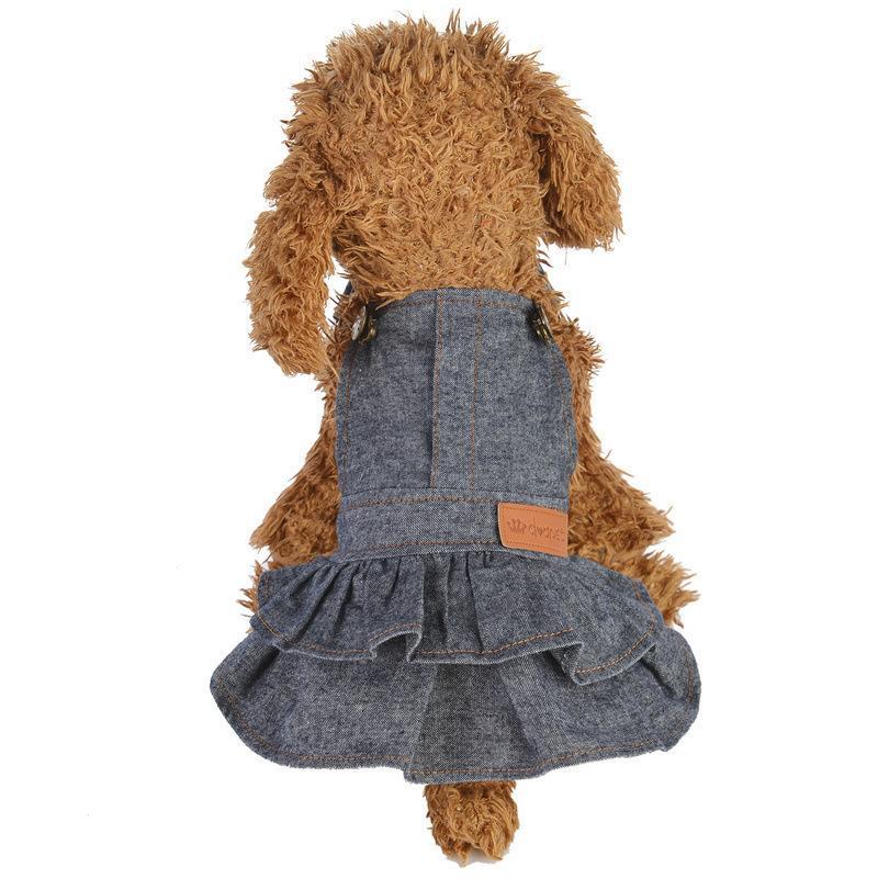 ドッグウェア ワンピース 犬服 猫服 ペット用品 小型犬 デニム 袖なし ジャンパースカート ティアードスカート フリル 吊りスカート おしゃれ かわ|mignonlindo|02