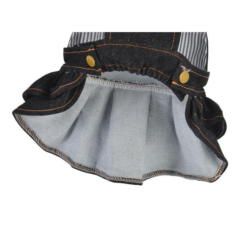 ドッグウェア ワンピース 犬服 猫服 ペット用品 小型犬 デニム 袖なし ジャンパースカート ティアードスカート フリル 吊りスカート おしゃれ かわ|mignonlindo|14
