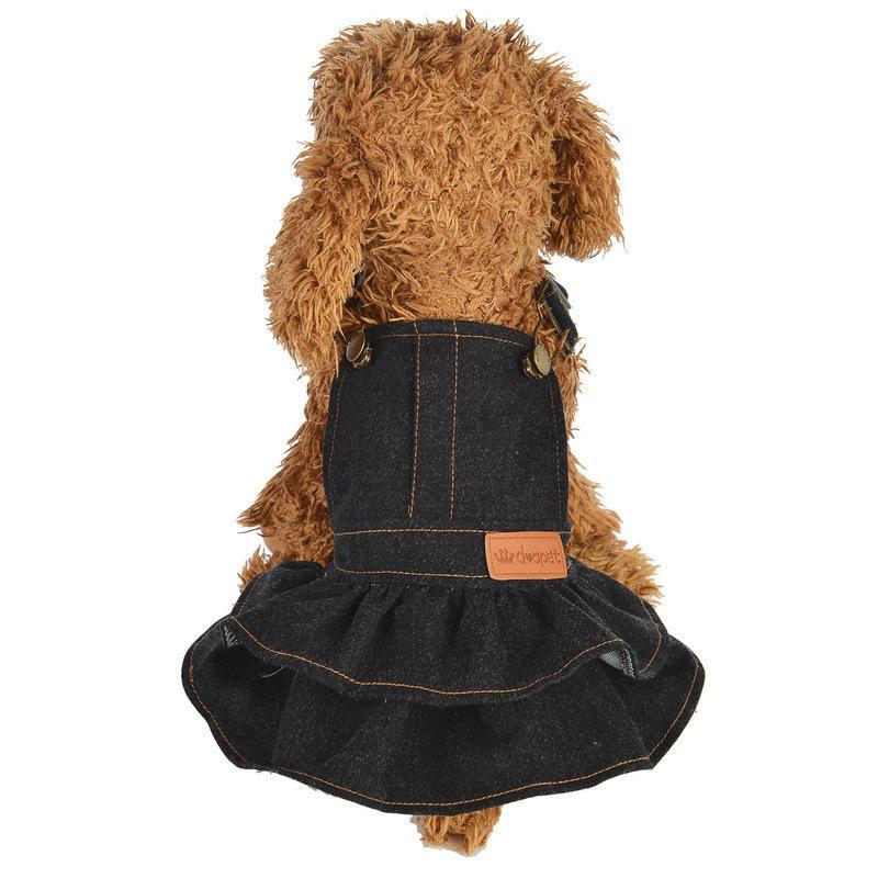 ドッグウェア ワンピース 犬服 猫服 ペット用品 小型犬 デニム 袖なし ジャンパースカート ティアードスカート フリル 吊りスカート おしゃれ かわ|mignonlindo|03