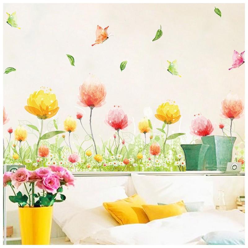 ウォールステッカー ウォールシール 壁シール 壁紙シール 壁面装飾 壁装飾 送料無料新品 室内装飾 フラワー 蝶 バタフライ ちょうちょ お花畑 代引き不可 インテリ カラフル