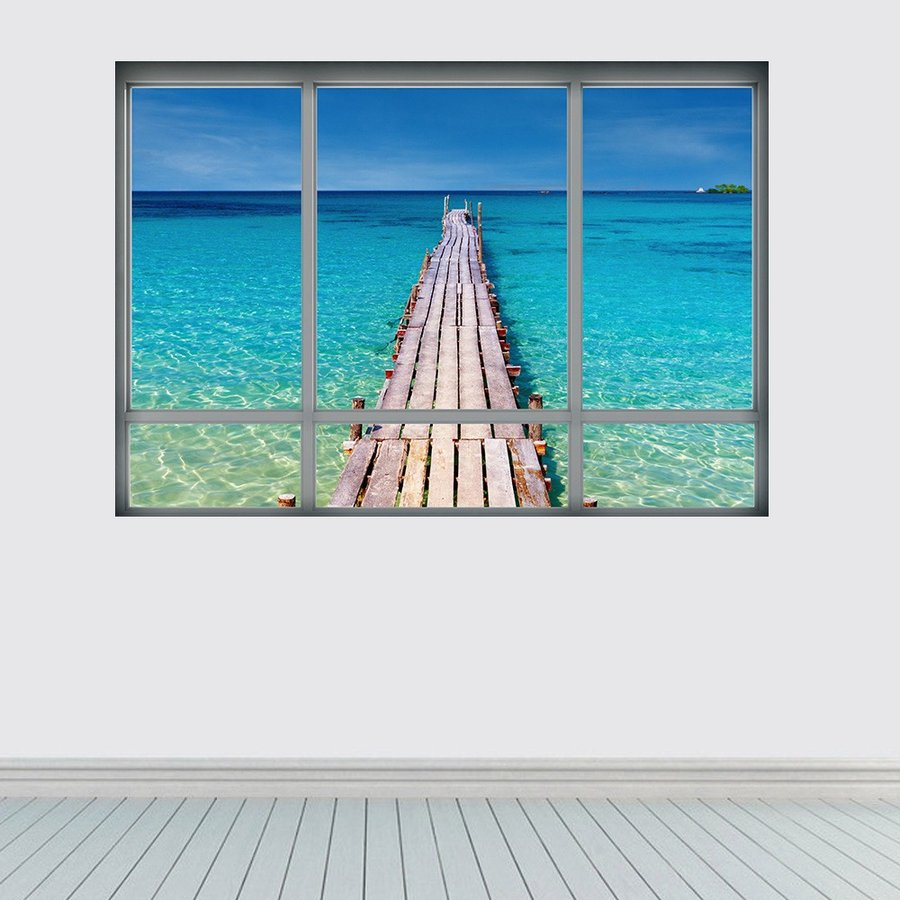 ウォールステッカー 壁紙シール シールタイプ 窓辺 窓枠 景色 風景 3d 立体的 南国 海 海辺 水面 桟橋 美麗 壁シール トリックアート だまし Zak おとりよせ Com 通販 Yahoo ショッピング