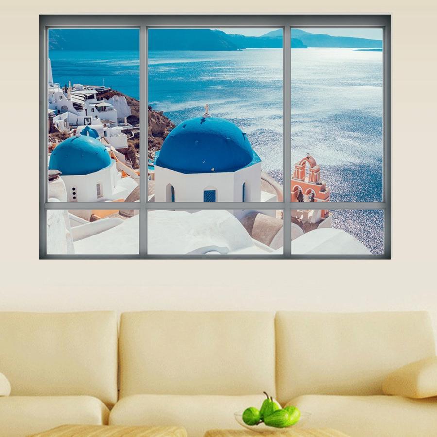 ウォールステッカー 壁紙シール シールタイプ 窓辺 窓枠 景色 風景 3d 立体的 サントリーニ島 海 海辺 美麗 壁シール トリックアート だまし絵 Zak おとりよせ Com 通販 Yahoo ショッピング