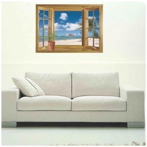 ウォールステッカー 壁紙シール 3D 立体的 トリックアート だまし絵 海辺 ビーチ ウィンドウ 窓枠 景色 ファッション通販 窓 供え 風景 きれい ルームデコレーション