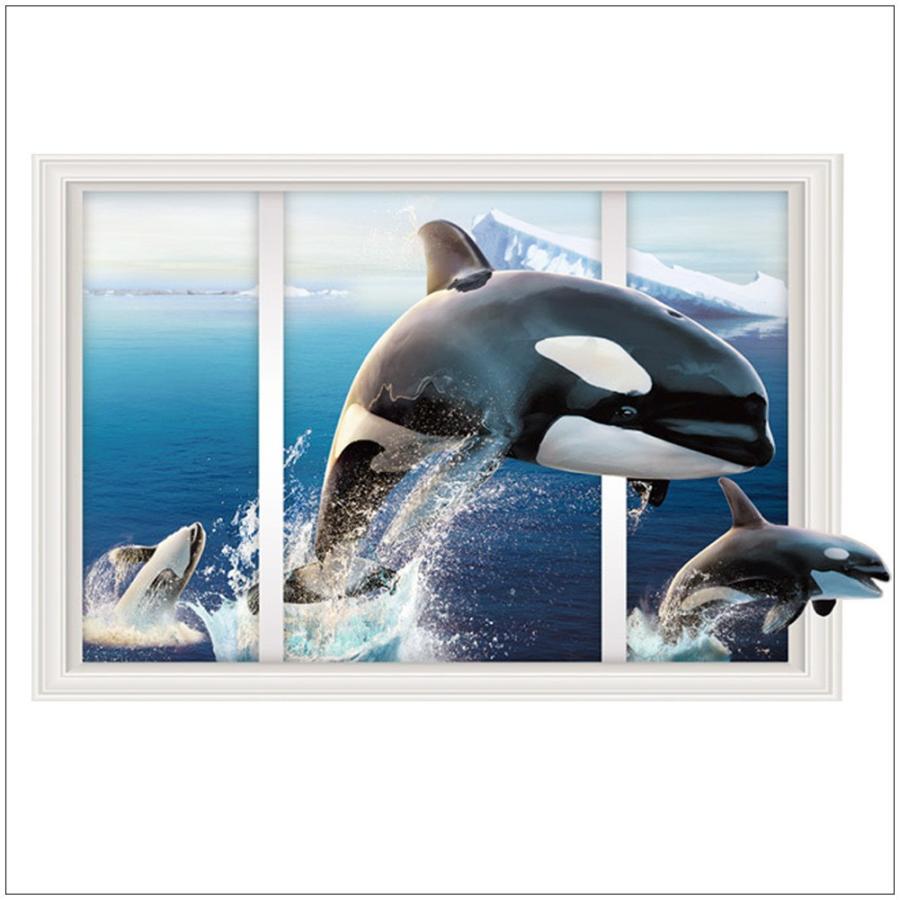 ウォールステッカー 壁紙 壁紙シール ルームデコレーション 壁装飾 トリックアート 3d 立体的 だまし絵 窓 海 シャチ 異国 かっこいい きれい Zak おとりよせ Com 通販 Yahoo ショッピング