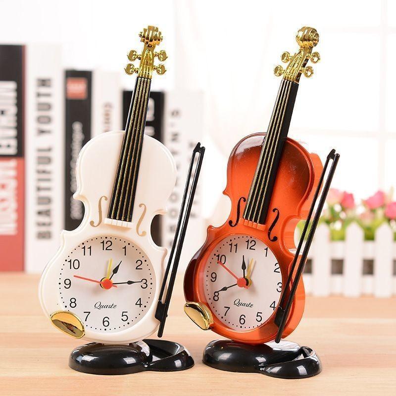 時計 置き時計 インテリア 2020モデル 雑貨 置物 電池式 ベッドルーム いつでも送料無料 バイオリン プレゼント アンティーク 贈り物 リビング 寝室