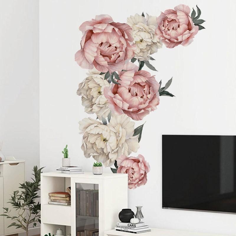 ウォールステッカー ウォールシール 品質保証 シール式 花 バラ グリーン 植物 限定価格セール 癒し 室内装飾 インテリア 壁面装飾 壁紙シール 壁シール 壁装飾 自然