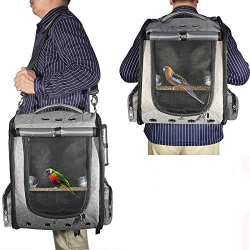 SALE COGOWAI 鳥 インコ 販売 キャリー リュック 通気 耐久性 グレー 止まり木 おもちゃ付き 軽量 ペット用 食器 携帯便利
