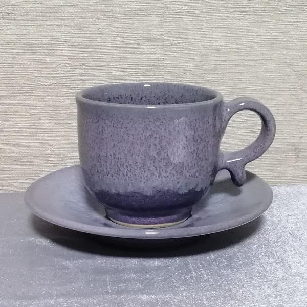 三池焼手作り陶器・ラベンダー色のコーヒーカップ&ソーサー150cc(均窯釉コーヒーカップ&ソーサー150cc)|miikeyaki