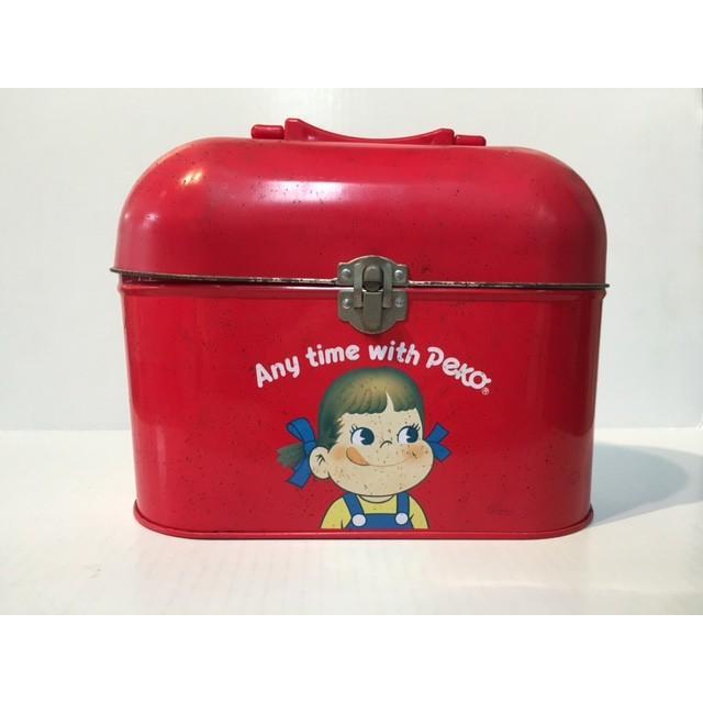 ◎不二家ペコちゃん 角丸ブリキ缶 赤色 Any time with Peko&Poko