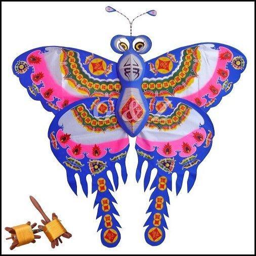 【新品】FU中国' Happiness 'シンボル·Large Silk Butterfly Kite with Wooden Flyスピンドル